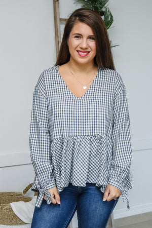 Plaid Ruffle V-Neck Top