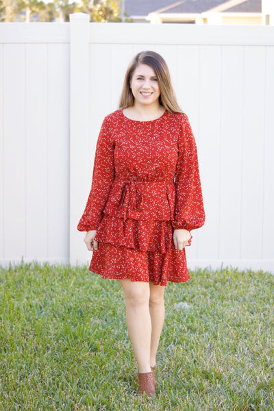 Speckled Love Ruffle Dress - Calico's Boutique