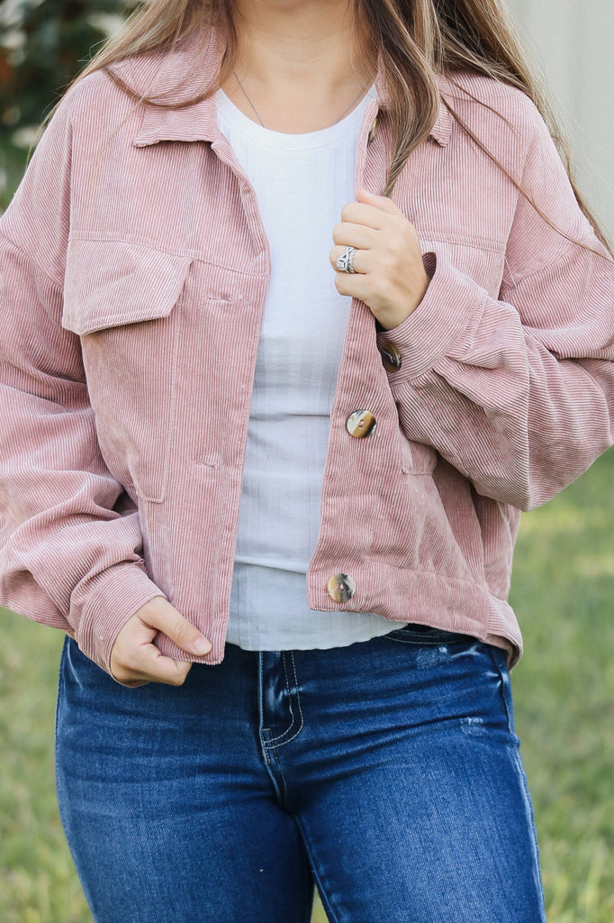Pink Corduroy Button Jacket