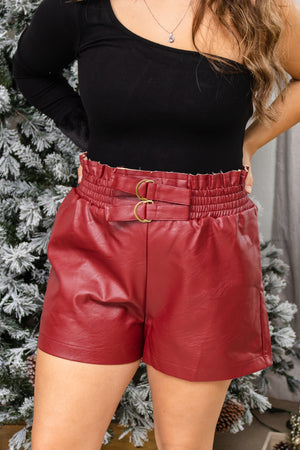 Styled In Crimson Leather Shorts