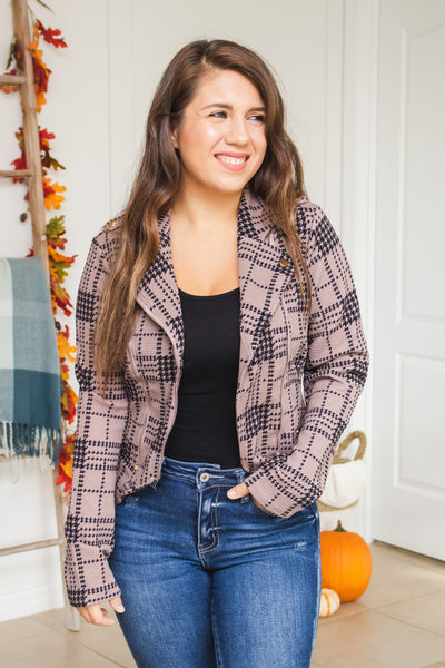 Edgy Feels Plaid Moto Jacket