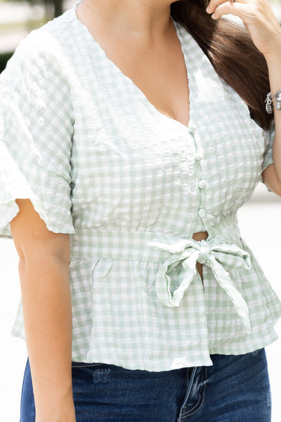 Checkered Tie Front Top (mint)