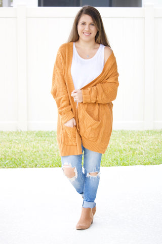Braided Knit Cardigan (camel brown) - Calico's Boutique