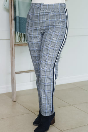 Side Stripe Plaid Trousers