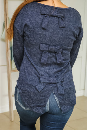 Bow Back Knit Top (navy)