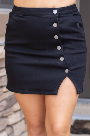 Black Denim Button Side Skirt