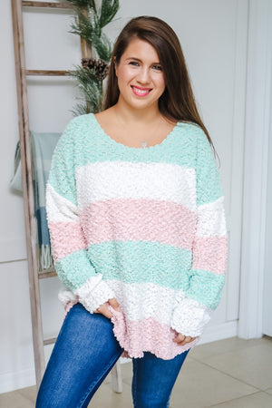 Minty Pink Striped Popcorn Sweater