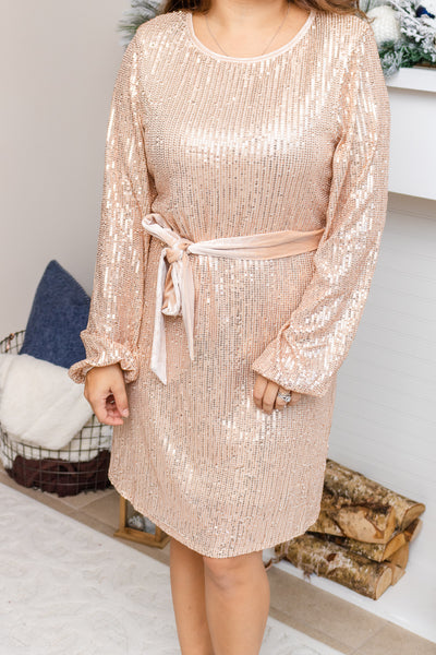 Champagne Sequined Tie Dress