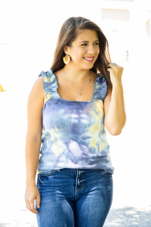 Ruffled Strap Tie Dye Top