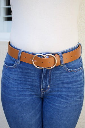 Double Ring Belt (brown/gold) - Calico's Boutique