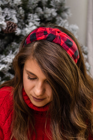 Plaid Headband (red/black)