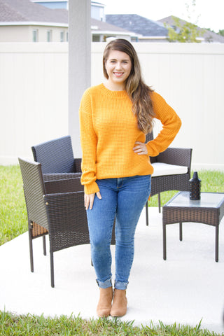 Waffle Knit Sweater (ash mustard) - Calico's Boutique