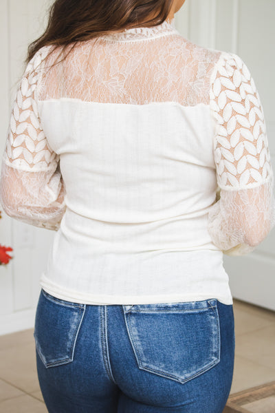 Delightful In Lace Button Neck Top (cream)