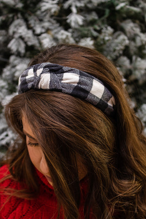 Plaid Headband (black/white)