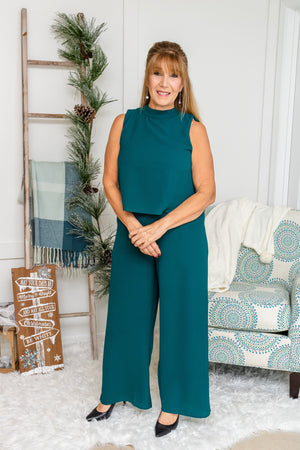 Sleeveless Mock Neck Jumpsuit (teal green)
