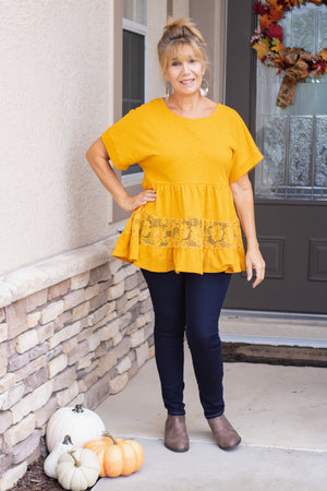 Amber Floral Lace Ruffled Top