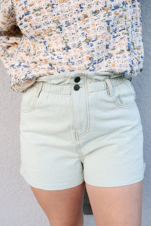 Denim Paper Bag Shorts (sage)