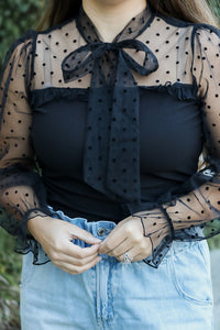 Dotted Bow Mesh Sleeve Top (black)
