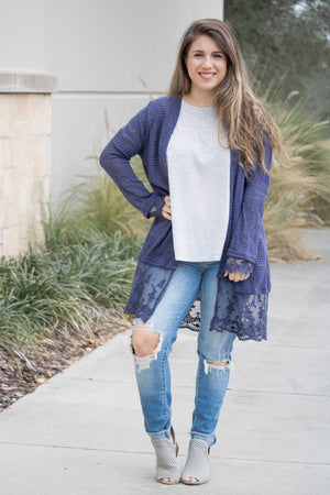 Knit And Lace Cardigan (navy) - Calico's Boutique