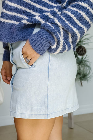 Double Button Washed Blue Skirt