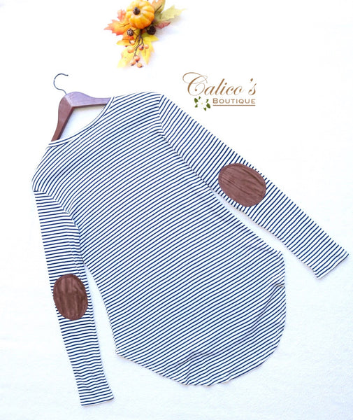 Elbow Patch Top - Calico's Boutique
