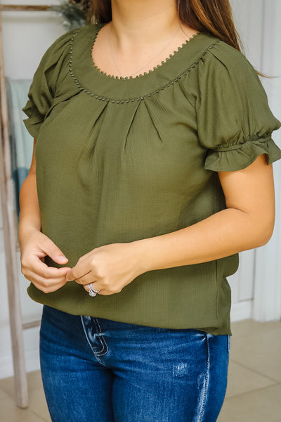 Dotted Trim Puff Sleeve Top (olive)