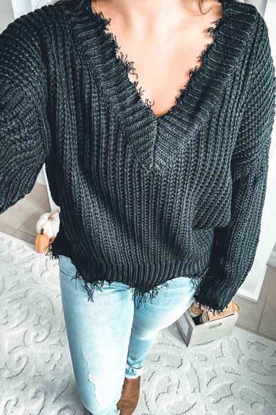Stormy Nights Distressed Black Sweater