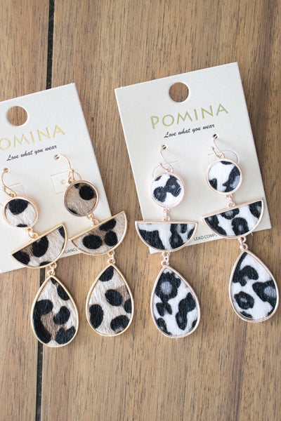 Leopard Teardrop Earrings (white) - Calico's Boutique