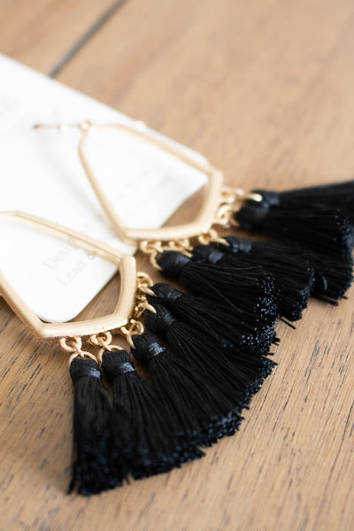 Tassel Fringe Earrings (black) - Calico's Boutique
