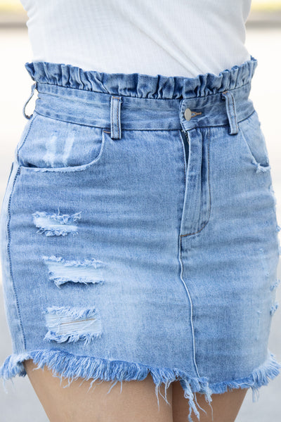 Distressed High Waisted Denim Skirt - Calico's Boutique