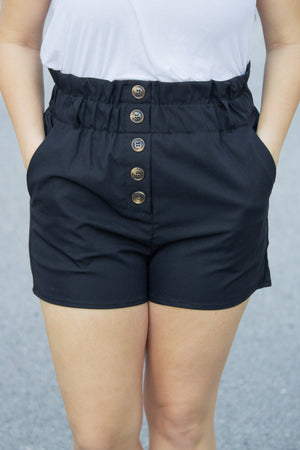 Belted High Waisted Shorts (black) - Calico's Boutique