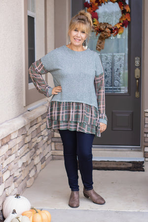 Ruffled Plaid Long Sleeve Top (olive)