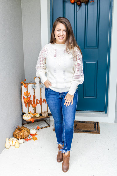 Knitted Pom Pom Scalloped Sweater