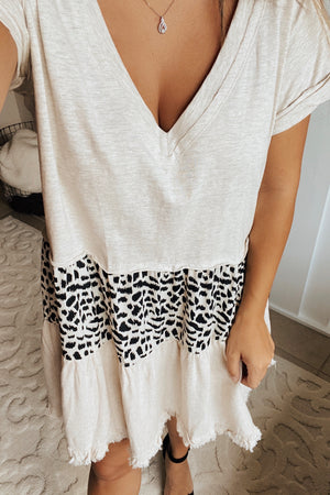 Tiered Animal Print Dress (oatmeal)