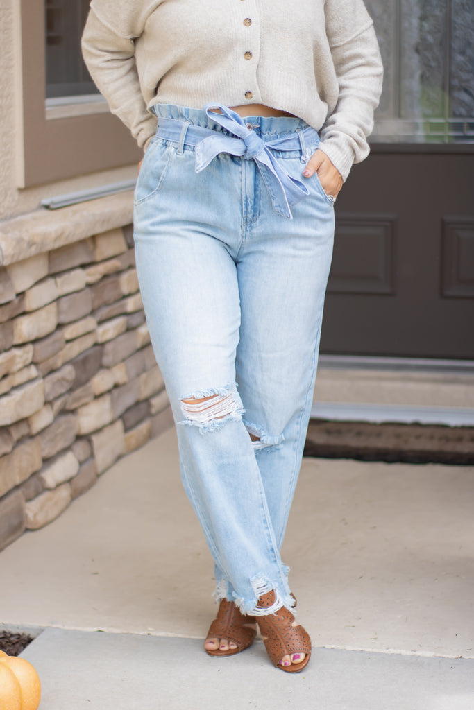 Distressed Paperbag Mom Jeans