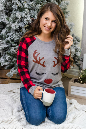 Rudolph Lashes Plaid Graphic Top