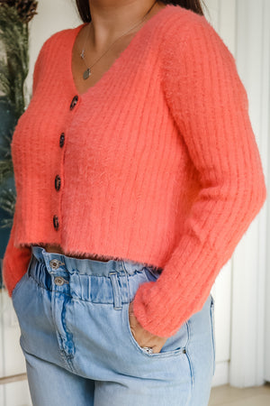 Tangerine Cropped Sweater Cardigan