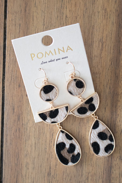 Leopard Teardrop Earrings (tan) - Calico's Boutique