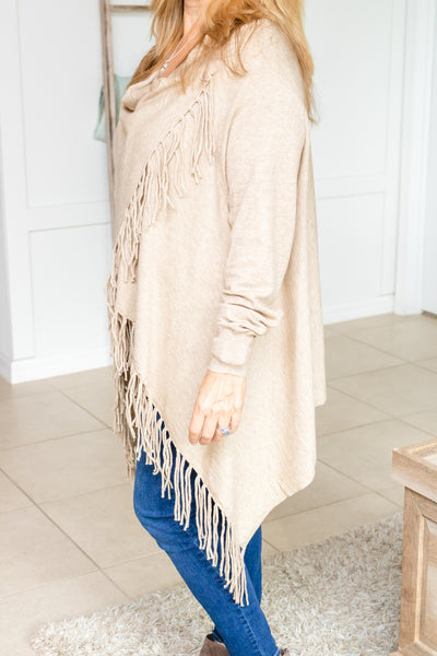 Fringe Wrapped Cardigan (oatmeal)
