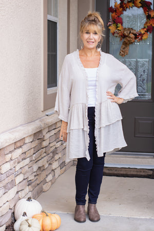 *LAST ONE* Double Ruffle Cardigan (natural)