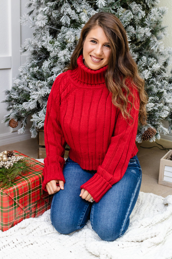 Cranberry Turtleneck Cropped Sweater