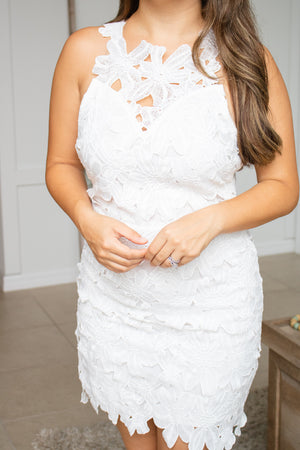 Floral Lace White Dress