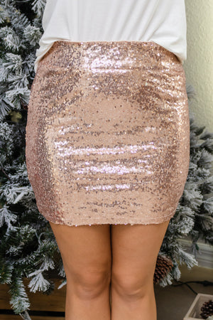 Step Out In Sequins Champagne Skirt