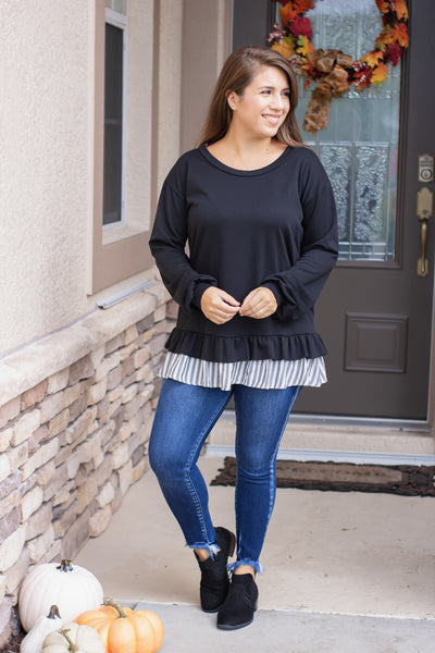 Striped Ruffle Hem Top (black)