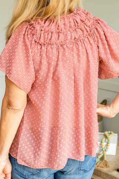Ruffled And Dotted Tie Neck Top