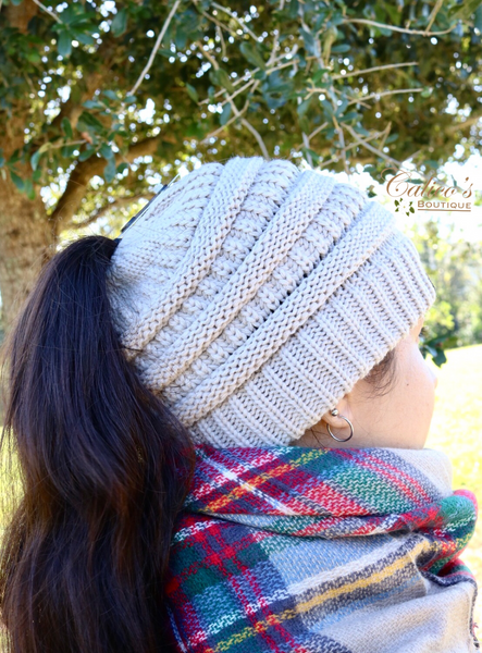 CC Ponytail Beanie (olive) - Calico's Boutique