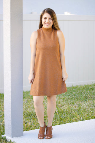One Shiny Night Camel Brown Dress