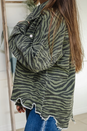 Zebra Print Distressed Denim Jacket
