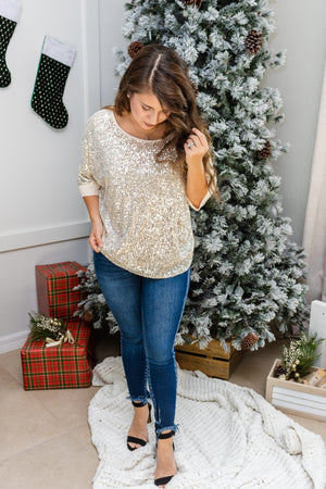 A Shiny Night Gold Sequins Top