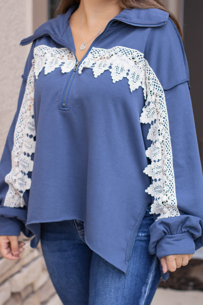 Crochet Bubble Sleeve Pullover (blue)